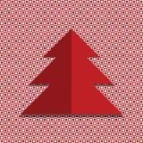 Röd jultree Röd och vit bakgrund med cirklar och fyrkanter Royaltyfri Fotografi