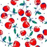 Röd körsbär på vita den sömlösa bakgrundsmodellen stock illustrationer