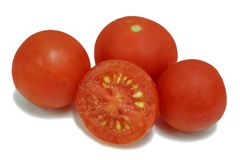 Röd körsbärsröd tomat på vit Royaltyfria Bilder