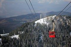 Röd kabelbil över skogen som täckas med snö Royaltyfri Bild
