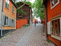 Röd kabin i den Skansen parken (Stockholm, Sverige) Arkivfoto