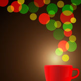 Röd kaffekopp med färgrik bokehbakgrund Vektorillustrati Arkivfoton