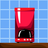 Röd kaffemaskin med den svarta krukan Vektorillustration i plan stil Royaltyfri Fotografi