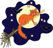 Röd katt på en kvast halloween Royaltyfri Bild