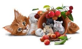Röd kattunge, möss och små äpplen Arkivbilder