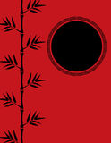 Röd kinesisk bambubakgrund Arkivfoto
