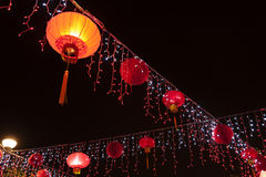 Röd kinesisk lykta Fotografering för Bildbyråer