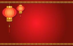 Röd kinesisk lyktabakgrund med prydnaden Arkivfoto