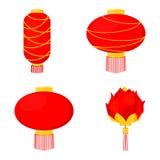 röd kinesisk lyktauppsättning för 4 tecknad film vektor illustrationer