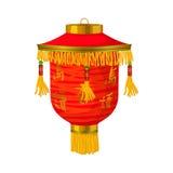Röd kinesisk symbol för pappers- lykta i tecknad filmstil stock illustrationer