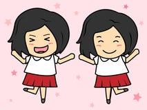 Röd kjol för thailändsk student Royaltyfria Bilder