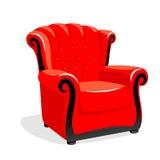 Röd klassisk läderfåtölj Arkivbilder