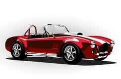 Röd klassisk roadster för kobra för sportbil Arkivbilder