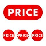 Röd knapp för pris vektor illustrationer