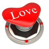 Röd knapp i form av hjärtor, begrepp för förälskelse 3d Arkivbilder