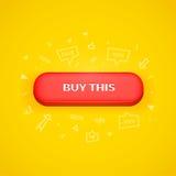 Röd knapp med köpet denna text stock illustrationer