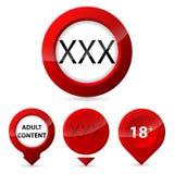 Röd knappuppsättning för glöd XXX Arkivfoto