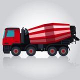 Röd konkret blandare Arkivfoto