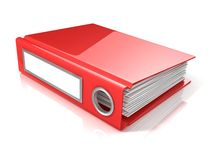 Röd kontorsmapp Arkivbild