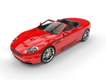 Röd konvertibel sportbil - bästa sikt Royaltyfri Fotografi