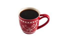 Röd kopp kaffe Arkivfoto