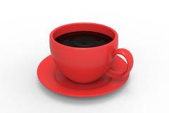 Röd kopp med kaffe Arkivfoton