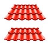 Röd korrugerad tegelplattabeståndsdel av taket Royaltyfri Bild