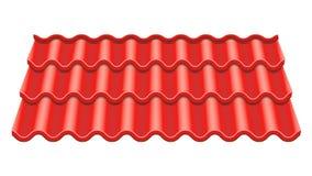 Röd korrugerad tegelplattavektor Beståndsdel av taket keramiska ceranic texturtegelplattor Fragment av takillustrationen Arkivfoton