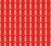 Röd korrugerad tegelplattavektor Beståndsdel av taket seamless modell keramiska ceranic texturtegelplattor Fragment av takillustr Arkivfoton