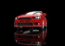 Röd kraftig modern bil på svart bakgrund Fotografering för Bildbyråer
