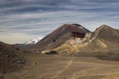 Röd krater och montering Ngauruhoe Fotografering för Bildbyråer