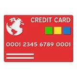 Röd kreditkortlägenhetsymbol som isoleras på vit Arkivfoto