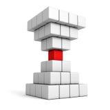 Röd kub för olik individuell ledare av pyramidgruppen Arkivbilder