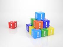 Röd kub med Questionmark Arkivbild