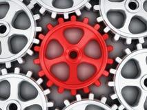 Röd kugghjuldel Royaltyfri Bild