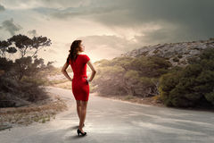 röd kvinna Royaltyfri Bild