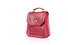 Röd kvinnahandväska som isoleras på vit bakgrund Royaltyfri Foto