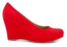 Röd kvinnlig sko Fotografering för Bildbyråer