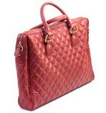 Röd kvinnors portfölj för påse för läderskuldra, Arkivfoton