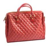 Röd kvinnors portfölj för påse för läderskuldra, Royaltyfri Bild