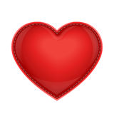 Röd läderkudde som hjärta Arkivfoto