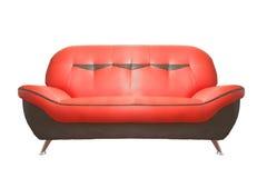 Röd lädersofa Arkivbild