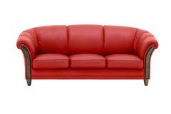 Röd lädersoffa Arkivfoto
