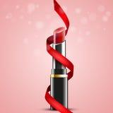 Röd läppstift med det röda bandet på abstrakt bakgrund, vektordesign Royaltyfria Bilder