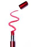 Röd läppstift med spåret Royaltyfri Fotografi