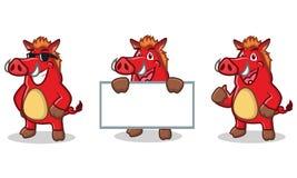 Röd lös lycklig svinmaskot Arkivfoton