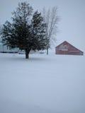 Röd ladugård i snö med trädet Royaltyfri Foto
