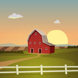 Röd lantgårdladugård Arkivbild