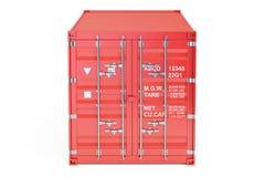 Röd lastbehållare, främre sikt framförande 3d Royaltyfri Bild