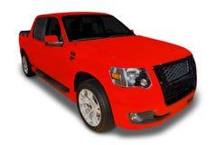 röd lastbil för hacka upp Arkivfoto